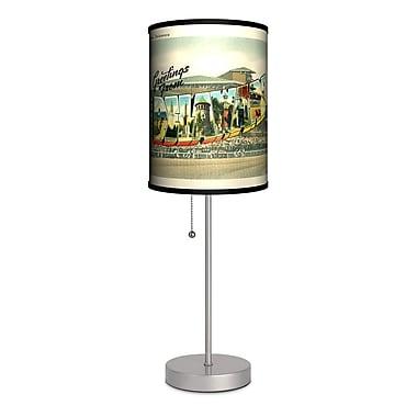 Lamp-In-A-Box Travel Delaware Postcard 20'' Table Lamp