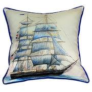 Betsy Drake Interiors Coastal Whaling Ship Indoor/Outdoor Throw Pillow