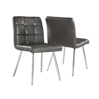 Monarch – Chaises de salle à manger, métal chromé/similicuir, hauteur de 32 po, gris, paq./2