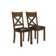 Monarch – Chaise de salle à manger en similicuir, hauteur de 40 po, noyer/brun foncé, paq./2