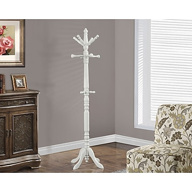 Monarch Traditional Solid Wood Coat Rack, Antique White