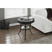 "Monarch Side/Accent Table with Tempered Glass, 20""Dia, Hammered Black"