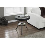 Monarch - Table d'appoint avec verre trempé, 20 po (diam.), noir martelé