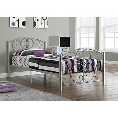 Monarch Metal Twin Size Bed Frame Only, Silver