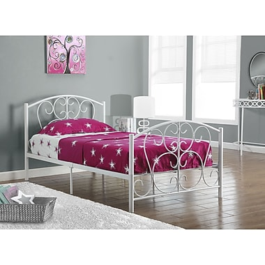 Monarch Metal Twin Size Bed Frame Only, White