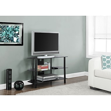 Monarch Metal TV Stand with Tempered Black Glass 36