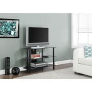 "Monarch Metal TV Stand with Tempered Black Glass 36""L, Black"