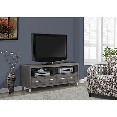 Monarch – Support pour téléviseur avec 4 tiroirs, 60 po long., style vieilli, taupe foncé