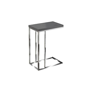 Monarch Hollow-Core/Chrome Metal Side/Accent Table, Glossy Grey