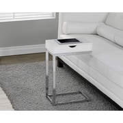 Monarch Hollow-Core/Chrome Metal Side/Accent Table, Glossy White, (I 3031)