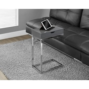 Monarch Hollow-Core/Chrome Metal Side/Accent Table, Shiny Grey
