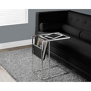 Monarch Chrome Metal Side/Accent Table with a Magazine Holder, Black
