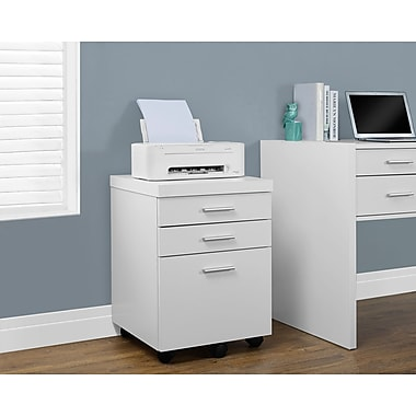 Monarch Hollow-Core 3 Drawer File Cabinet On Castors, White