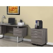 Monarch 3 Drawer File Cabinet/Castors, Dark Taupe Reclaimed-Look