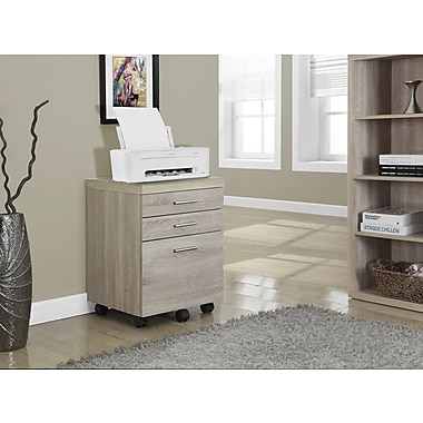 Monarch 3 Drawer File Cabinet On Castors, Natural Reclaimed-Look