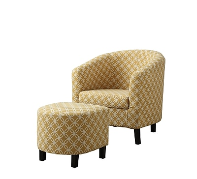 Monarch Specialties Inc. I 8059 Fabric Accent Chair and Ottoman, Burnt Yellow