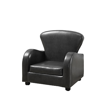 Monarch Leather-Look Juvenile Club Chair, Charcoal Grey
