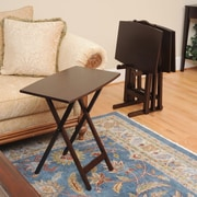 Wildon Home   Bay Shore Curve Edge Tray Table Set w/ Stand (Set of 4); Espresso
