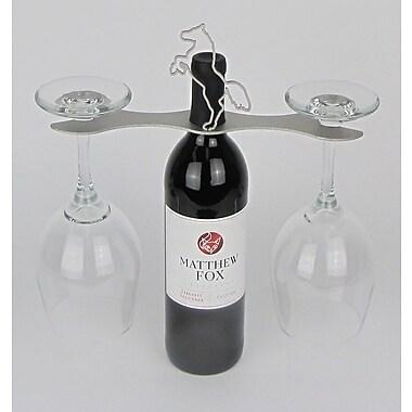 Metrotex Designs Laser Cut Steel Stall 1 Bottle Tabletop Wine Rack; Nickel