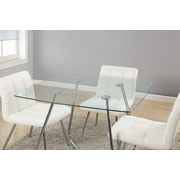 Monarch – Table à manger en verre trempé, métal chromé/8 mm, diamètre de 40 po