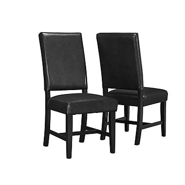 Monarch - Chaise fixe en similicuir, 40 po, noir, paq./2
