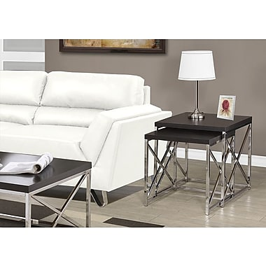 Monarch Hollow-Core/Chrome Metal Nesting Table, Cappuccino, 2/Pack