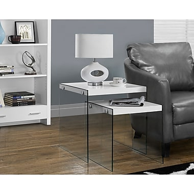 Monarch Hollow-Core/Tempered Glass Nesting Table Set, Glossy White, 2/Pack