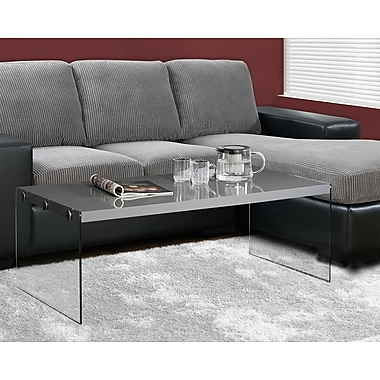 Monarch Hollow-Core/Tempered Glass Cocktail Table, Glossy Grey