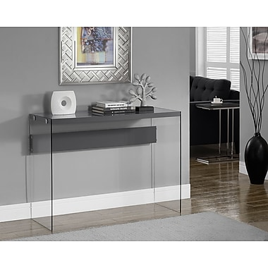 Monarch Hollow-Core/Tempered Glass Sofa Table, Glossy Grey