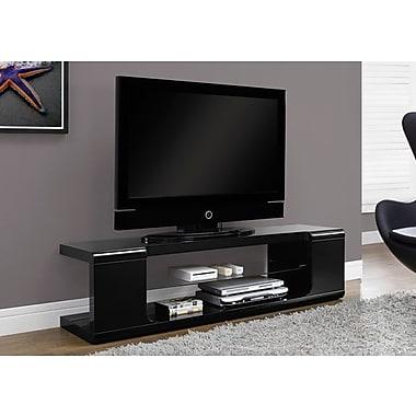 Monarch – Support pour téléviseur avec verre trempé, 60 po long., noir très lustré