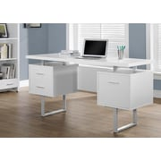 "Monarch Hollow-Core/Metal Office Desk, 60""L, White/Silver"