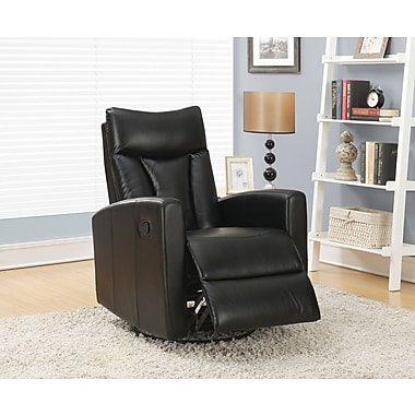 Monarch Bonded Leather Swivel Glider Recliner, Black