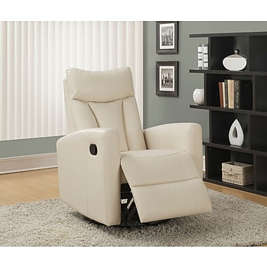 Monarch Bonded Leather Swivel Glider Recliner, Ivory