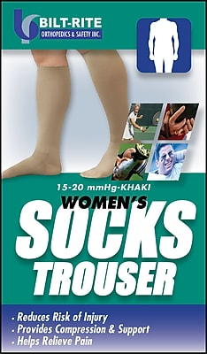 Bilt-Rite Mutual, Women's Trouser Socks, 15 - 20 mmHg Khaki, 2 pack (10-70500-MD-2)