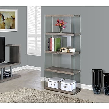Monarch Reclaimed-Look/Tempered Glass Bookcase, 60