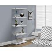 """Monarch Hollow-Core/Tempered Glass Modern Bookcase, 60""""H, Glossy White"""