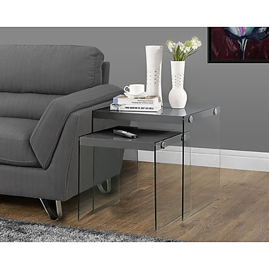 Monarch Hollow-Core/Tempered Glass Nesting Table Set, Glossy Grey, 2/Pack