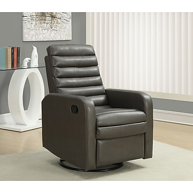 Monarch Bonded Leather Swivel Glider Recliner, Charcoal Grey