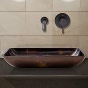 Vigo Fusion Glass Rectangular Vessel Bathroom Sink; Antique Rubbed Bronze