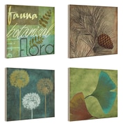Stupell Industries Fauna and Flora 4 Piece Wall Plaque Set