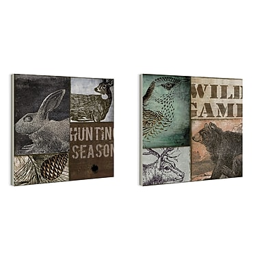 Stupell Industries Hunting Season Patchwork-look 2 Piece Wall Plaque Set