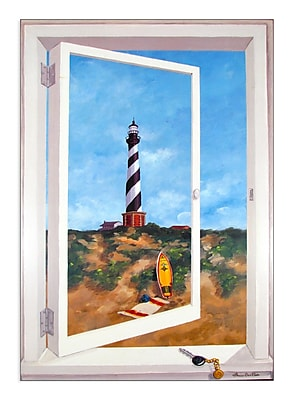 Stupell Industries Cape Hatteras Lighthouse Faux Window Scene Wall Plaque