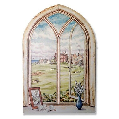 Stupell Industries St. Andrew's Golf Course Faux Window Scene Wall Plaque