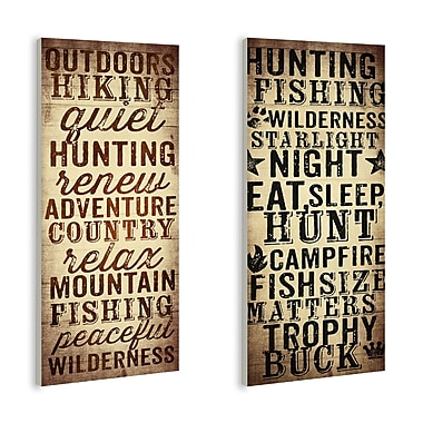 Stupell Industries Outdoors and Hunting 2 Piece Textual Art Wall Plaque Set