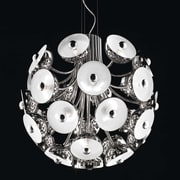 Evi Style 28-Light Inverted Pendant; Polished Chrome with White Diffuser