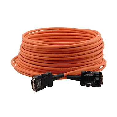 Kramer (C-FODM/FODM-33) Dvi-D (M) To Dvi-D (M) Fiber/Copper Hybrid Cable, 33', Orange