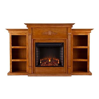 SEI Tennyson Wood/Veneer Electric Floor Standing Fireplace, Glazed Pine