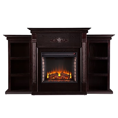 SEI Tennyson Wood/Veneer Electric Floor Standing Fireplace, Espresso