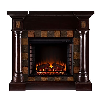 SEI Carrington Wood/Veneer Electric Floor Standing Fireplace, Espresso