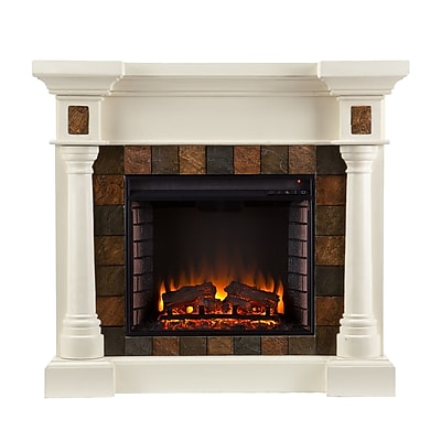 SEI Carrington Wood/Veneer Electric Floor Standing Fireplace, Ivory